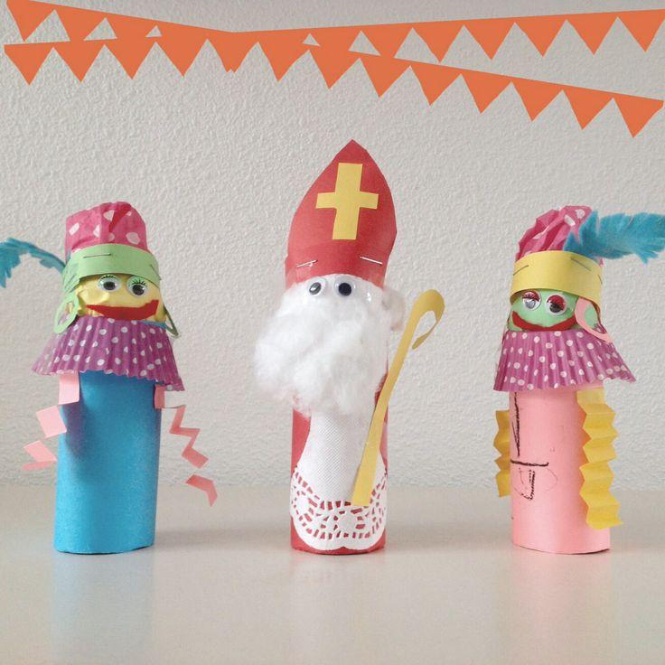 Sinterklaas & Pietjes van kokertjes en papier!