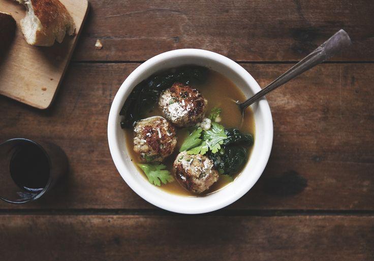 Minestra Maritata | Italian Wedding Soup with Turkey Meatballs, Kale ...