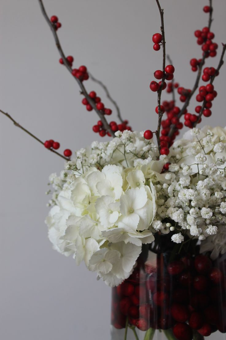Winterberries, floating cranberries with white hydrangea & Baby's Breath.  Gorgeous Centerpiece