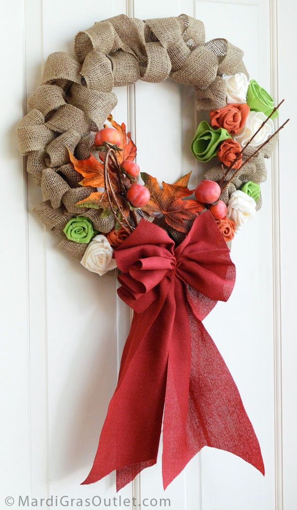 Burlap Ribbon Wreath Tutorial Fall