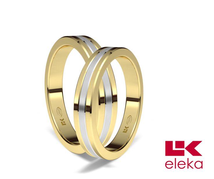 Alianza de oro blanco y amarillo de 18K modelo Rayada 3,5 mm de calibre #alianzas, #anillosdeboda, #boda, #novias www.cnavarro.com