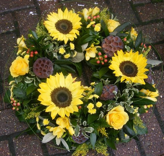 Funeral flowers sunflower wreath pinterest