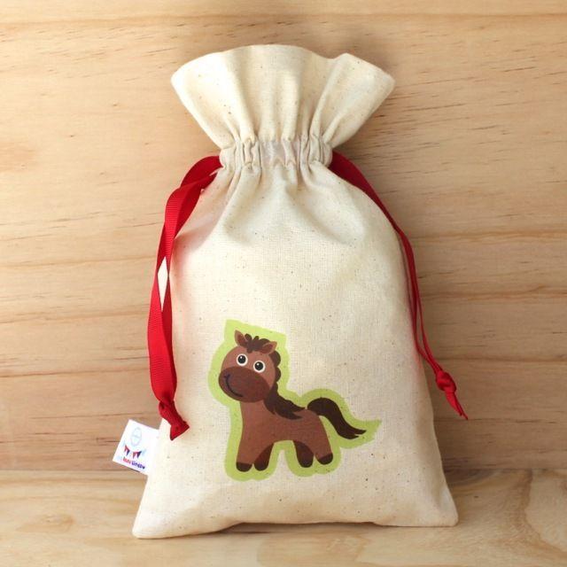 Horse Calico Drawstring Bag