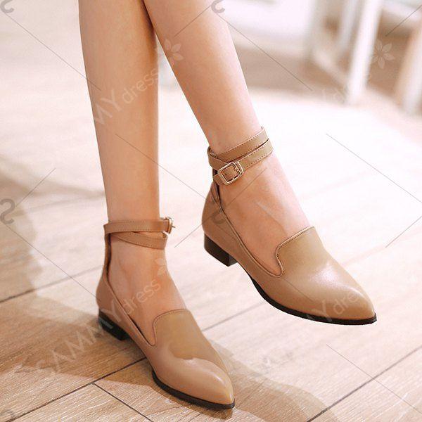 Faux la correa del tobillo del cuero zapatos planos