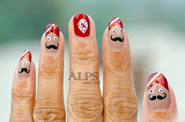 Sardar - Indian Turban Man  This #nailart was dedicated to character Singh Saab from the Bollywood Movie - Singh Saab the great  Did this #moustachenailart using #moyou-london Rebel 1
