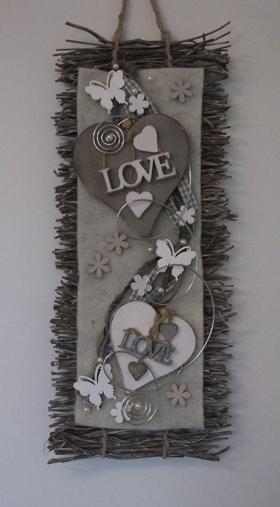 Türkranz, Türschmuck, Herz, LOVE, Wandbehang, Filz, Frühling, Sommer, grau-weiß