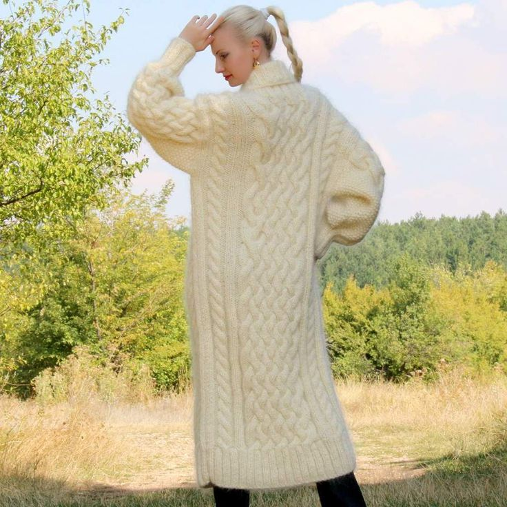 Thick and fuzzy 100% Hand knitted mohair coat in cables pattern, size S, M, L, XL
