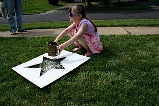 Great idea! sifted flour lawn stars. large stencil, flour, sifter. the little ones would love this!