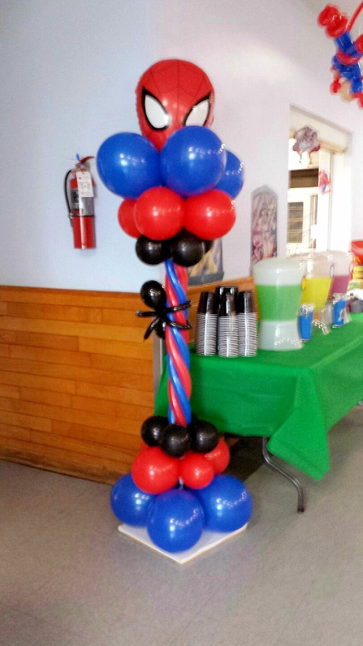 Party balloons decorations - Spiderman Column Spiderman Balloonballoon Columnsballoon Archballoon Decorationssuperhero Partyballoonscool