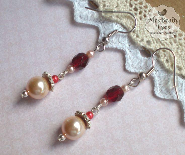 Pearl bridal earrings Romantic bridal earrings Swarovski pearl earrings Peach bridal earrings Peach pearl earrings Ruby red earrings by MrsBeadyEyes on Etsy