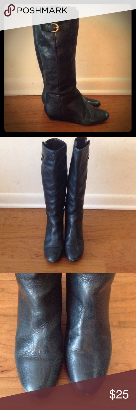 Steve Madden Intyce Boot in Forest Green Dark green knee high boot with a small wedge heel by Steve Madden. Model is Intyce. Some signs of wear but lots of life left in them. The soles are almost like new. Steve Madden Shoes