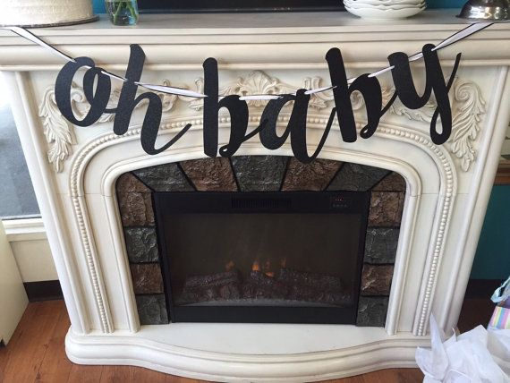 Celebrate the mommy-to-be with this glittery calligraphy oh baby banner! The glitter banner is perfect for baby showers and gender reveal