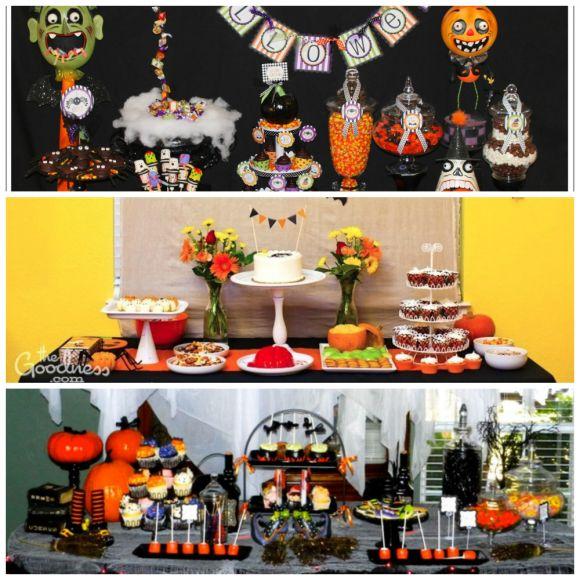 halloween dessert tables rice krispie pumpkins and halloween decorations