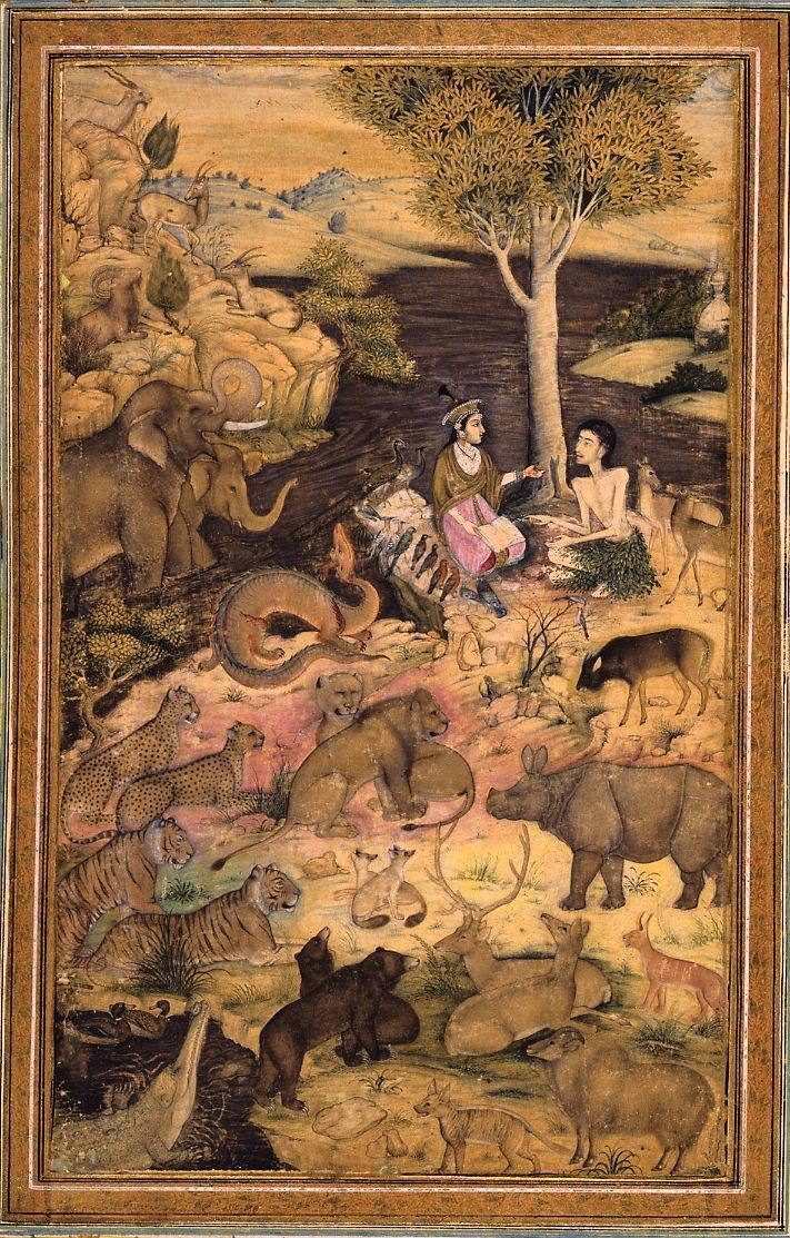 Layli visiting Majnun in the desert. Painting mounted on an album folio (B or verso side). Ink, opaque watercolour and gold on paper. School/style      Mughal Style.  Culture/period      Mughal dynasty.  Date      1650-1750 (circa)