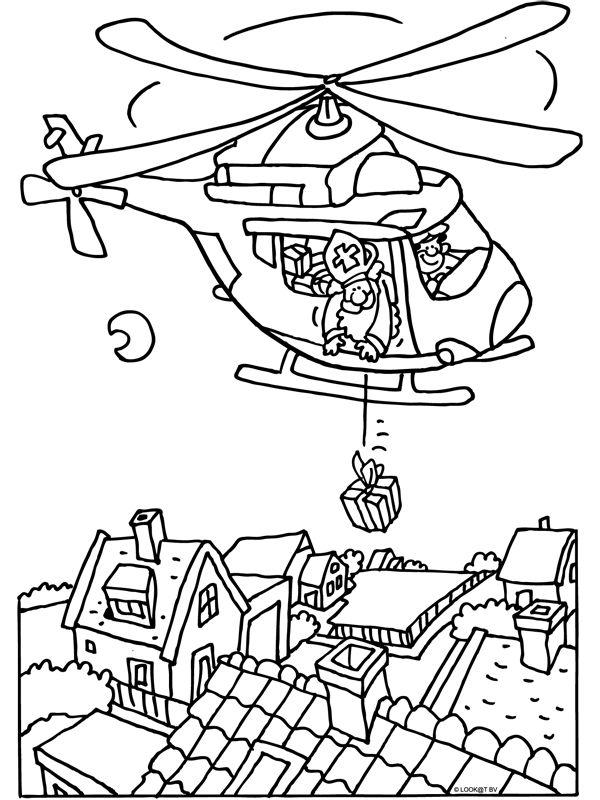 kleurplaat sinterklaas met de helikopter kleurplaten nl
