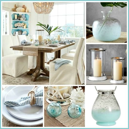 White Sandy Beige And Ocean Blues Make This Table Dining Room A Calming Coastal