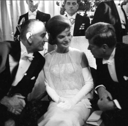 Lyndon B. Johnson, Jackie & JFK chatting together during Kennedy's Inuaguration.