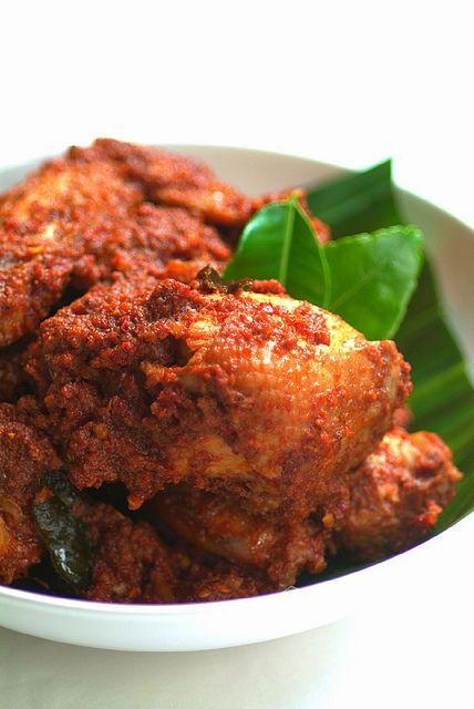 Rendang Ayam Pedas (Spicy Dry Chicken Curry) and Nasi Minyak (Ghee Rice) by pickyin
