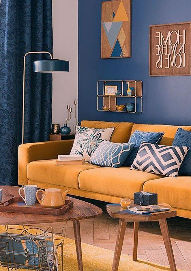 Salon Scandinave Tendance Bleu Et Jaune Le Canape Jaune Moutarde