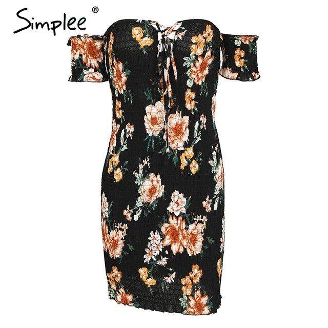 Off Shoulder Lace Up Bodycon Dress Women Summer Beach Dress Streetwear Mini Dress Vestidos Robe Femme 1