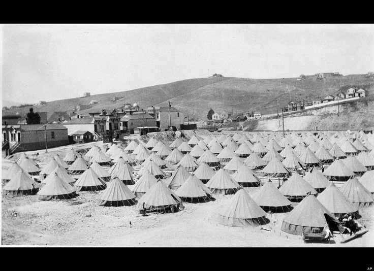 Refugee tents after the 1906 San Francisco earthquake that look surprisingly like the refugee round huts at Vinovium that feature in the Crows novel.