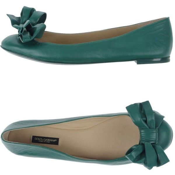 Dolce & Gabbana Ballet Flats ($260) ❤ liked on Polyvore featuring shoes, flats, green, leather ballet shoes, round toe flats, leather flats, bow ballet flats and green ballet flats