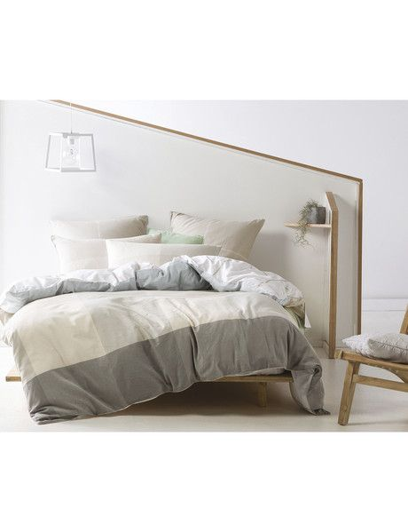 The Linen House Lyal Duvet Cover Set features a simple, large-scale check, which will add a rustic look to your space with its textural cotton/linen base and natural feel.