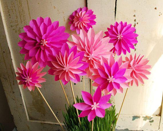 Paper FlowersSpecial Mothers Day Bouquet Pink Dahlia von PaperAltar