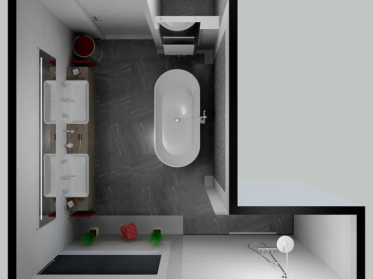 Met een vrijstaand bad cre er je ook iets in de badkamer mooi ontwerp van de badkamer maar ook - Badkamer in lengte ...
