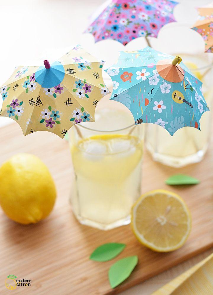 Tuto DIY : ombrelles en papier pour la décoration de cocktail   Madame Citron - Blog de créations et DIY
