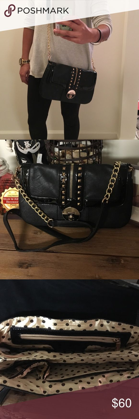 """Melie Bianco Cross Body bag Stutted bag with 2 zippered pockets. 2 separate interior compartments. 2 side pockets. I have this bag in brown - keeping that as it's great for a day or night out. 12 1/2"""" by 7 1/2"""". Adorable polka dot print Melie Bianco Bags Crossbody Bags"""