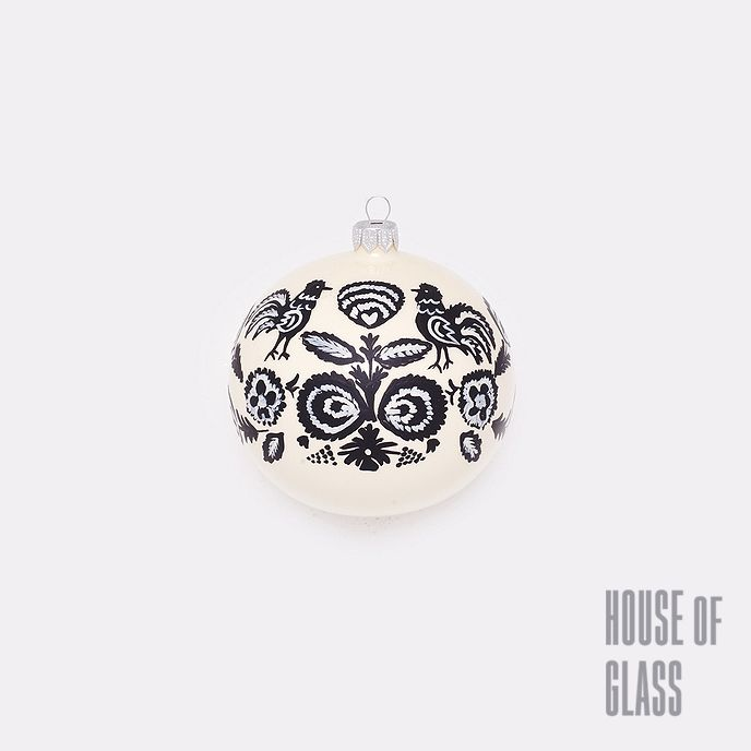 hand painted bauble with folk ornaments |Christmas decorations