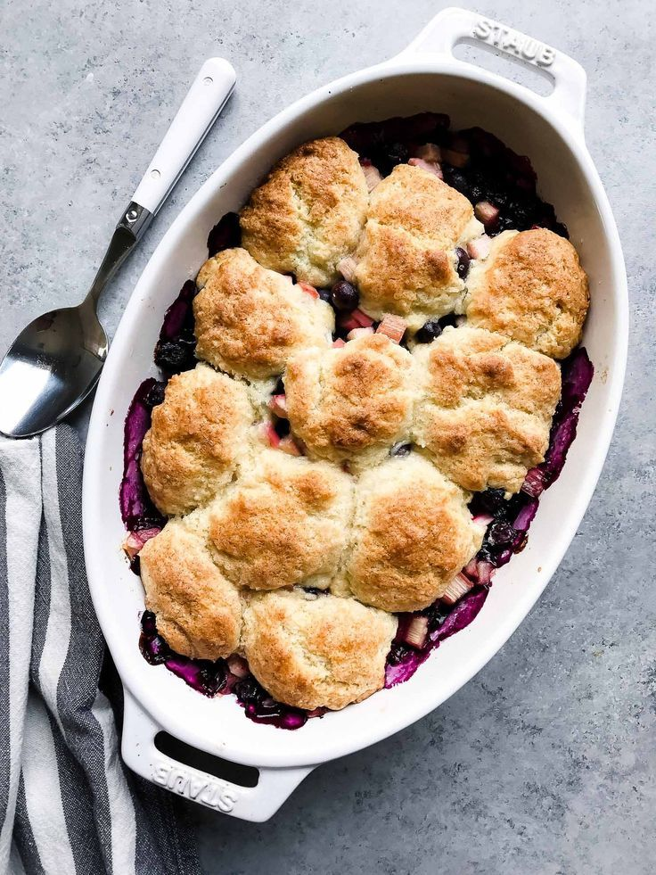 Once blueberries and rhubarb come into season, there's nothing more satisfying than baking them in a simple cobbler and eating it warm, with a melty scoop of vanilla ice cream.