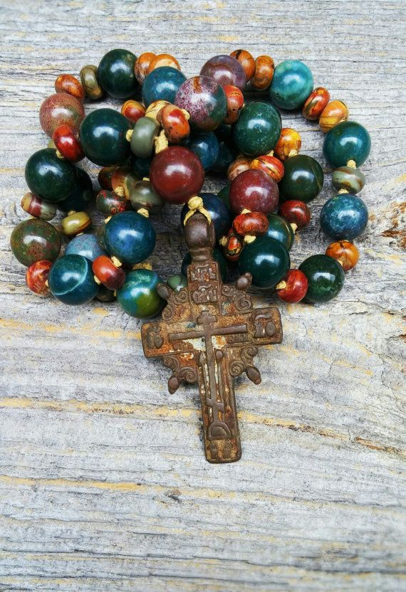Old Cross Christian Prayer Beads Rustic by MysticKeyMeditations
