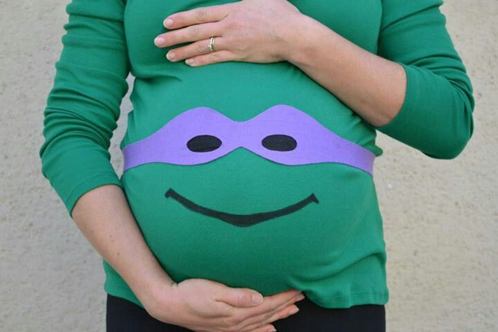 My DIY teenage mutant ninja turtle materinty halloween costume.  Yep we're having another boy.