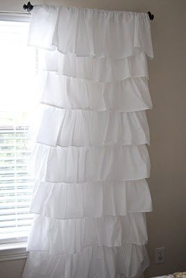 How to make a ruffled curtain using $4 flat sheets from walmart! So doing this!!