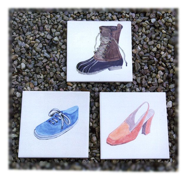 Hand painted shoe tiles. Let me paint your favourite pair of shoes on a tile! http://greta63.wix.com/notallwhite