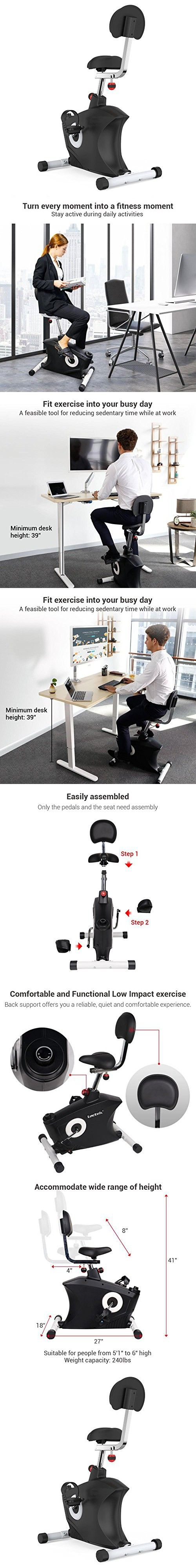 SereneLife Exercise Bike Home fice Exercise Bike Under Desk Bicycle Pedaling Fitness Machine