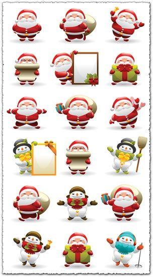 Santa Claus and snowman vector cliparts | Santa claus ...