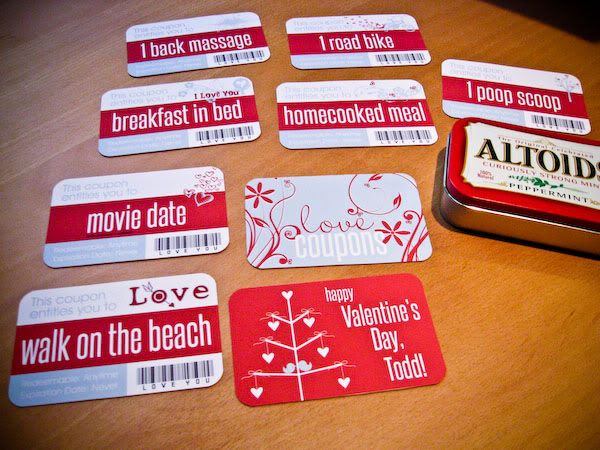 Love coupon cards in altoids tin box - recover the altoids box and use as a gift box