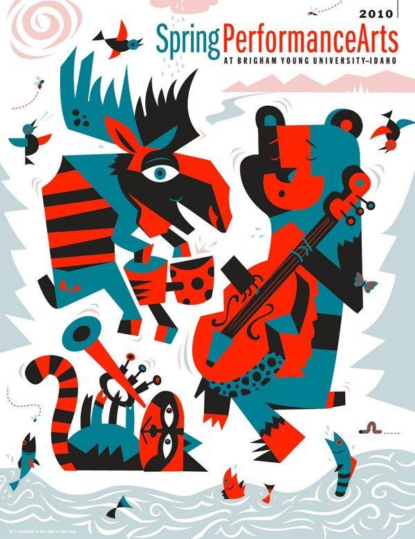Spring Performance Arts Brochure Cover Illustration by Tony Carpenter, via Behance