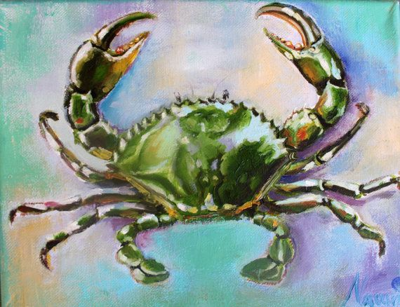 coastal painting coastal art painting of a crab  by LenaNavarroArt