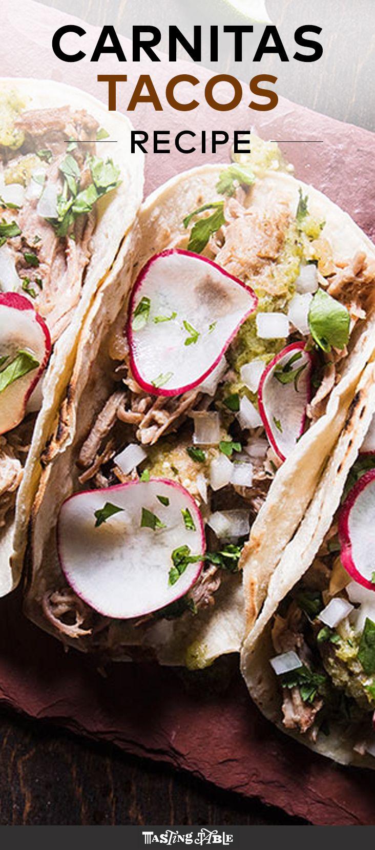 Fill your tacos with citrusy shredded pork, a vibrant tomatillo salsa and crunchy fresh veg.