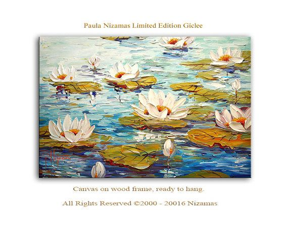 Wall Art Water Lilies Giclee PRINT on Canvas Home Decor