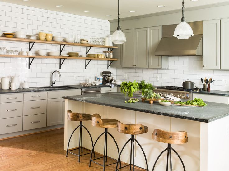 Love the masculine and feminine side of the kitchen. Would do the shelves without the hinges for more of a sleeker look
