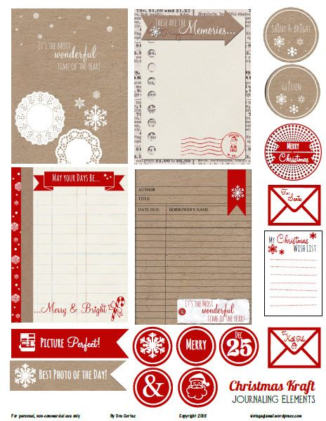 Free Printable Download -  Christmas Kraft Journaling Elements:
