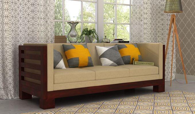 Hizen 3 Seater Wooden Sofa (Mahogany Finish)-1
