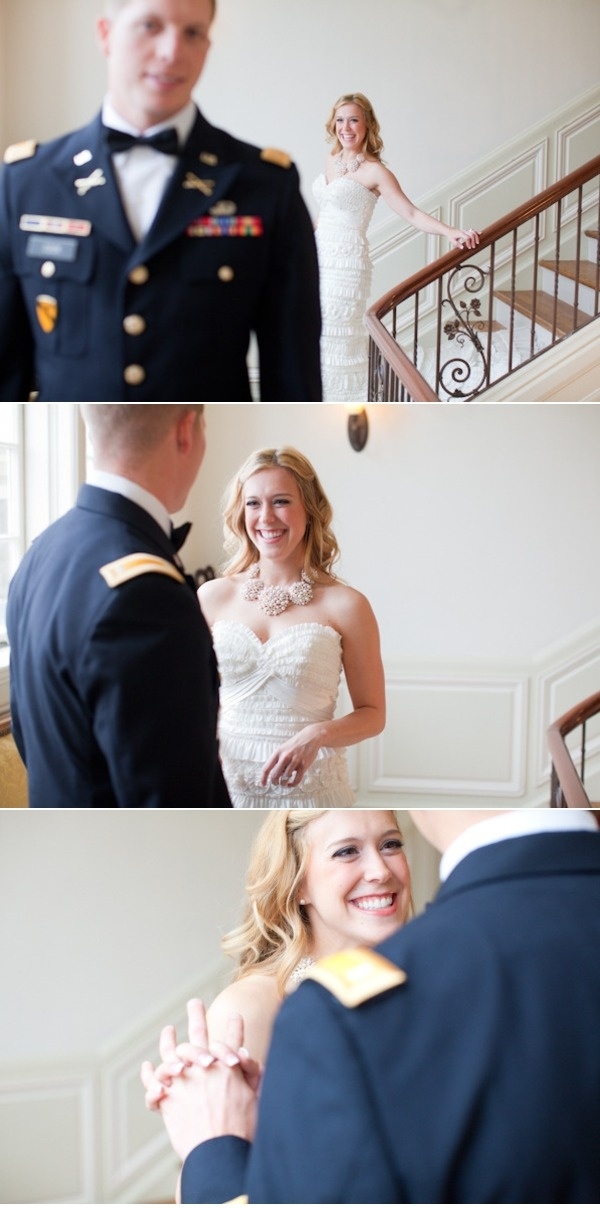 a first look between soon to be Mr. and Mrs. so sweet!  Photography By    halforangephotogr...: Picture, Sweet, Guy, Brides, Grooms Reaction, First Look, Military Wedding, Angle, Groom Reaction