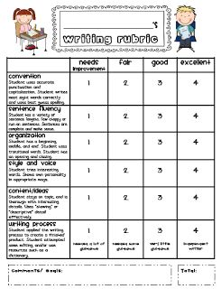 FREE Writing Rubrics (one with comment section, one without)