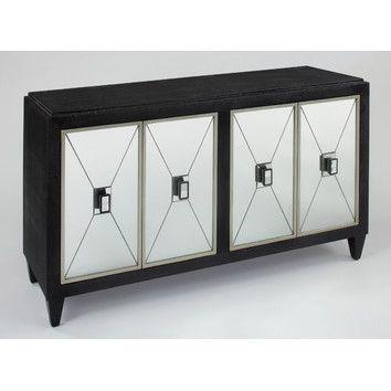 Artmax 4 Door Cabinet Black Mirror 60w X 34h X 20d At Www.chattelsfurniture.